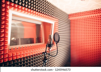 music studio without people. close up shot. place for recording songs