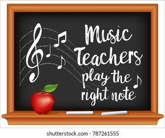 Music Teachers Play the Right Note, School Chalkboard, notes and treble clef on staff, wood frame blackboard, chalk, apple for the teacher. March is national Music Month.