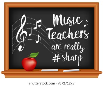 Music Teachers are # Sharp, School  Chalkboard, chalk, notes and treble clef on staff, apple for the teacher. March is national Music Month.
