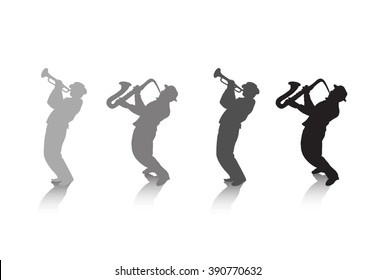 Music template background with Jazz musicians silhouettes and shadow isolated on white background. Hand drawing, digital illustration. Graphic resource for art, print, web design.