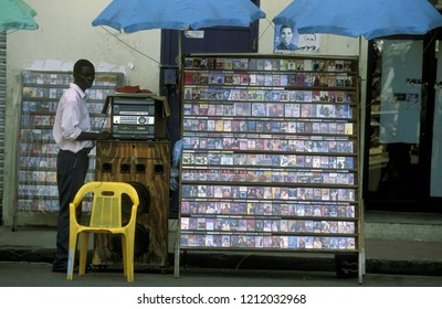 a music and video tape shop at the Village of Las Terrenas on Samana at Dominican Republic in the Caribbean Sea in Latin America.   Dominican Republic, Samana, April, 2006