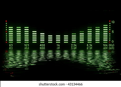 music waveform with reflection