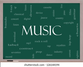 Music Word Cloud Concept on a Blackboard with great terms such as rock n roll, rap, pop, download, lp and more.