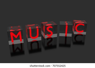 """""""MUSIC"""" word made by letter cubes. 3D rendering."""