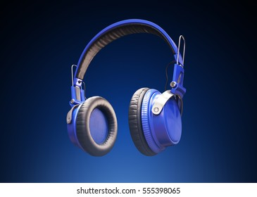 Musical background with audio blue headphones. 3d Illustration