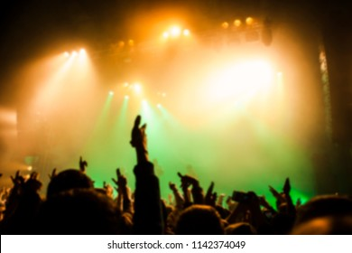 Musical concert. People in the concert hall at the disco . Singer in front of the audience. Fans at the concert. Blurred image / blurred photo.