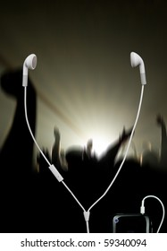 musical concert with white headphones