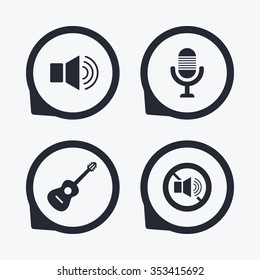 Musical elements icons. Microphone and Sound speaker symbols. No Sound and acoustic guitar signs. Flat icon pointers.