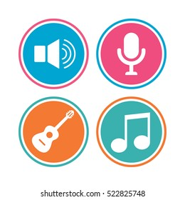 Musical elements icons. Microphone and Sound speaker symbols. Music note and acoustic guitar signs. Colored circle buttons.