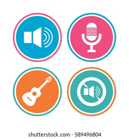 Musical elements icons. Microphone and Sound speaker symbols. No Sound and acoustic guitar signs. Colored circle buttons.