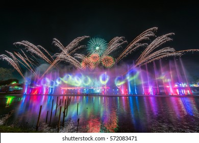 Musical Fountain and Firework show in Ayutthaya, Thailand