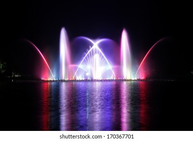 Musical fountain at the zoo in Thailand.