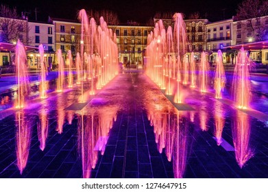 The musical fountains (French: fountains musicales) of Beziers city, a town in the Languedoc region of France