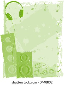 Musical green background with headphones, speakers, notes