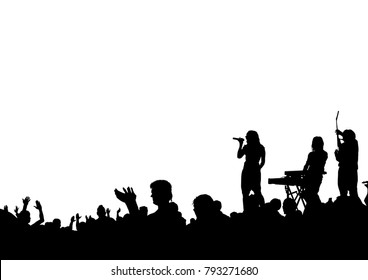 Musical group in concert on stage on white background