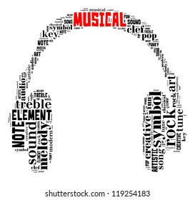 Musical info-text graphic and arrangement concept composed in headphone shape on white background (word cloud)