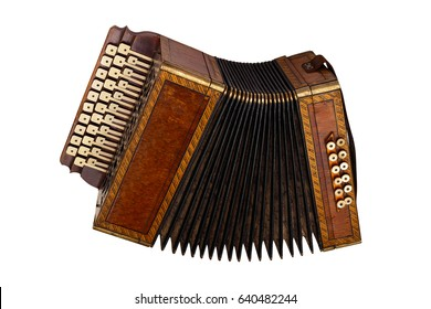 musical instrument accordion isolated on white background