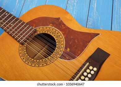 Musical instrument - bridge pin twelve-string vintage acoustic guitar.