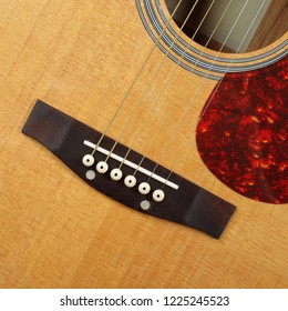 Musical instrument - Fragment top view pickguard, bridge, pins and strings vintage acoustic guitar.