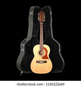 Musical instrument - Front view vintage twelve-string acoustic guitar hard case isolated on a black background.