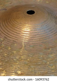 Musical instrument - the plate for game on drums golden color is made of copper