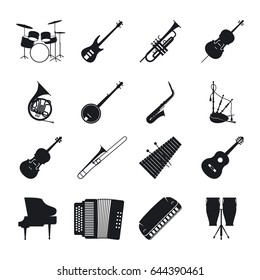 Musical instrument silhouettes for jazz music icons set
