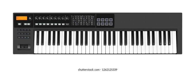 Musical instrument - Sloseup MIDI piano 61 key keyboard isolated white background