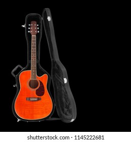 Musical instrument - Tiger flame maple electro acoustic cutaway guitar hard case isolated on a white background.
