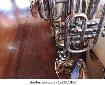 Musical instruments in the marching band.