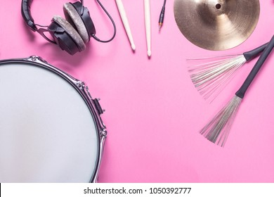 musical instruments. �¡ymbal, microphone, drum sticks, drum, drum chrome brushes on white background