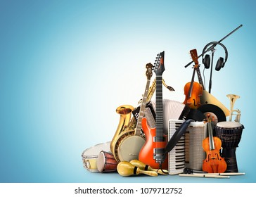 Musical instruments, orchestra or a collage of music - Shutterstock ID 1079712752
