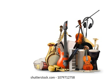 Musical instruments, orchestra or a collage of music - Shutterstock ID 1079712758