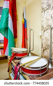 Musical instruments of pioneers in the Soviet Union, drums and trumpet
