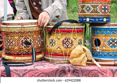 Musical instruments trade in the market, a colorful traditional drums