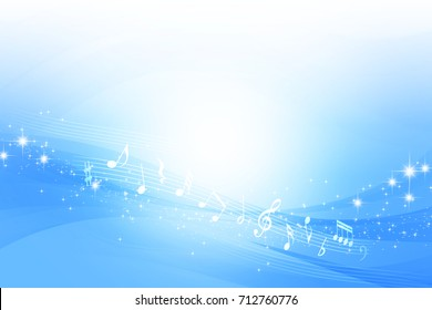 Musical Note and Blue Wave Abstract Background