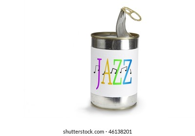 Musical Note Symbol a cross jazz on a can on a white background