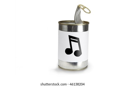 Musical Note Symbol on a can on a white background