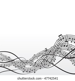 Musical notes background - variant vector id=47064550