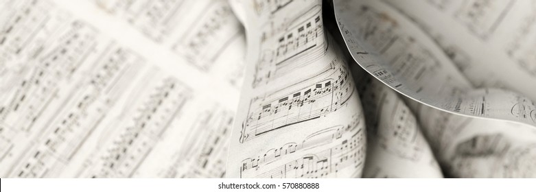 Musical notes fabric background, 3d rendering