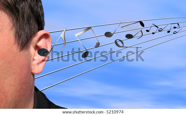 Musical notes flying in an ear