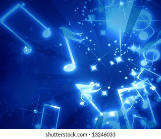 musical notes on a clear blue background