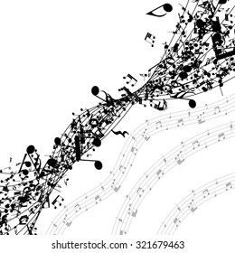 Musical notes in a row with copy space. Raster illustration.