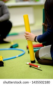 Musical plastic tube Boomwhackers. A simple musical instrument for the development of the child.