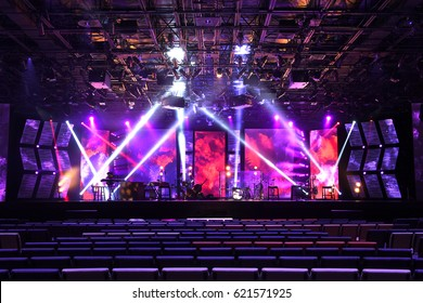 Musical stage with instruments and lighting