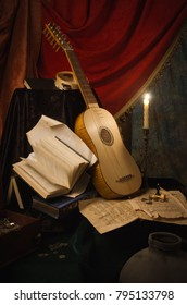 Musical still life in the Renaissance style with vihuela and flutes