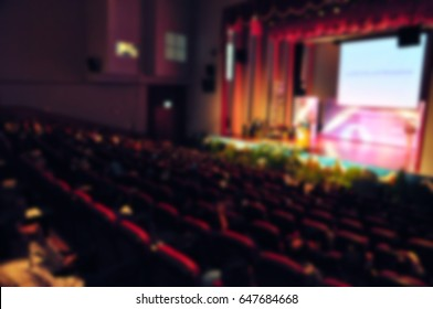 Musical or ted talk show play stage in theatre hall. - Blur image use for background.