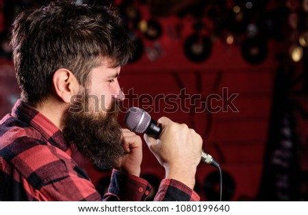 Musician Beard Mustache Singing Song Karaoke Stock Photo (Edit Now