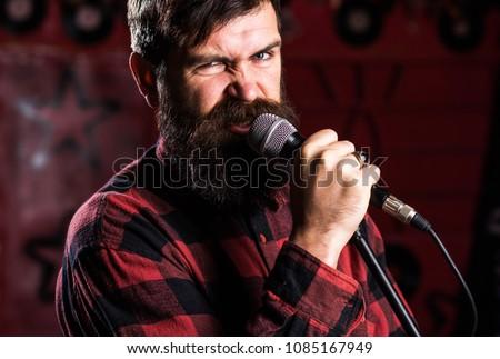 Musician Beard Mustache Singing Song Karaoke Stock Photo (Edit Now
