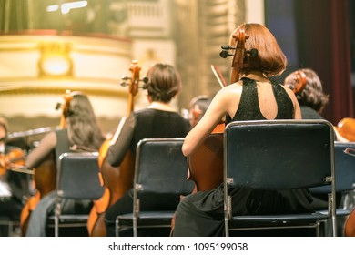 Musician play violin. Female violinist playing the violin stringst on the concert stage. Closeup.
