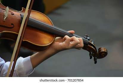 Musician play violin,Young women playing the violin at the concert